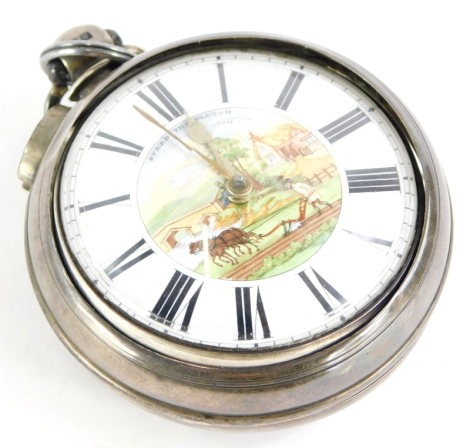 A Victorian silver pair cased pocket watch, the enamel dial decorated with a ploughing scene titled Speed The Plough, the movement signed C Schulen Ipswich, Birmingham 1844.