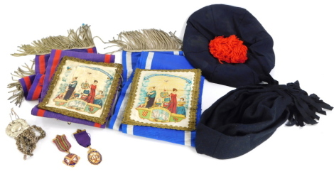 A quantity of an ancient order of Odd Fellows memorabilia, to include a 9ct gold jewel awarded for the Independent Order of Odd Fellows Manchester Unity, awarded to a George W Eggleton of the Wisbech District in recognition of his service as Provincial Gr