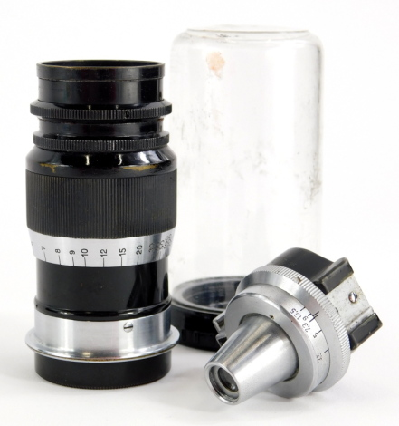 A Leitz 9cm f4 Elmar Telephoto lens, with screw fit, serial number 177533, with accessory viewfinder.