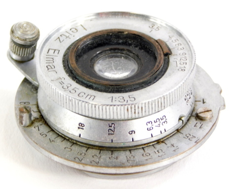 A Leitz 3.5cm f3.5 Elmar wide angle lens, with screw fit.