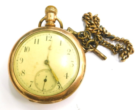 A CWC Company gold plated pocket watch, with a white enamel dial, second style bezel wind, and associated watch chain, stamped 730327.