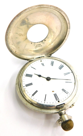 A continental half hunter fob watch, the silver case with blue enamel Roman numeral case, on a white enamel dial, inscribed to rear to Barrie on his 7th birthday from Auntie Ivy and Uncle Jack, July 30th 1944, stamped fine silver, 3½ cm wide, 49g all in.