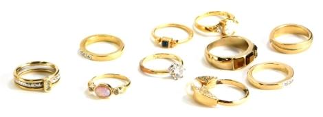 Ten various modern dress rings, all stone set, some Avon.