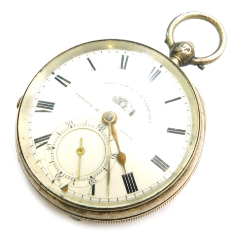 A John Hawley and Company of London and Coventry silver cased pocket watch, the white enamel dial, with Roman numerals, second style and brass handles (AF), key wind, Chester, 1913, stamped makers mark George V, 139.8g all in.