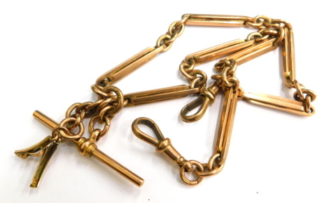 A 9ct gold watch chain, converted from two chains with a central t-bar clip and two clips, and old cut pendant mount, 37cm long, 38.1g all in.