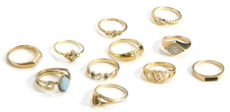 Eleven various modern dress rings, all stone set, some Avon.
