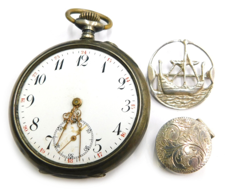 Various silver and other jewellery and effects, to include silver ships brooch by Tony Michael Holland, Edinburgh 1992, a small pill box stamped 925 and a continental silver pocket watch, stamped 800 and bearing signature Remantoir, (3).