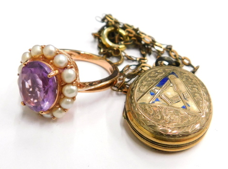 Two items of dress jewellery, to include a rose gold finish silver dress ring, with imitation pearl and amethyst stone, together with a 9ct gold front and back Masonic and enamelled locket pendant, on a plated chain. (AF) (2)
