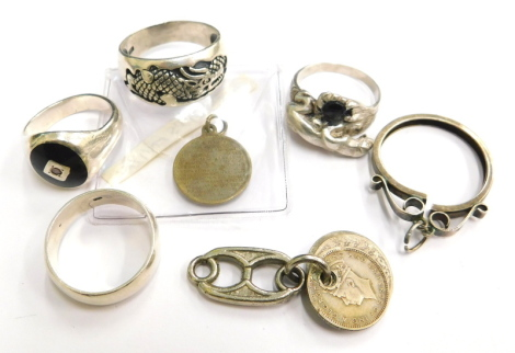 A group of various silver and other jewellery, to include a silver pendant frame, four various dress rings, various coins, etc. (a quantity)