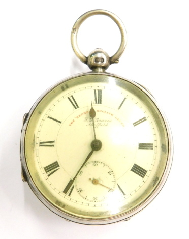 An Edwardian silver pocket watch, the enamel dial stamped J. G Graves, Sheffield, the Express English Lever, Chester 1902.