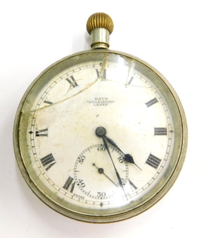 A silver plated pocket watch, the enamel dial stamped Kays Standard Lever. (AF)