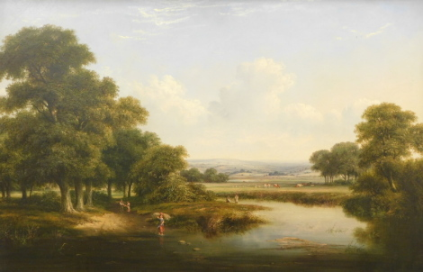 Attributed to Walter Heath Williams (act.1841- c.1876). Extensive landscape with five figures crossing a stream on a pathway and the riverbank, cattle in the foreground of a rolling landscape with trees, oil on canvas, 66cm x 102cm.