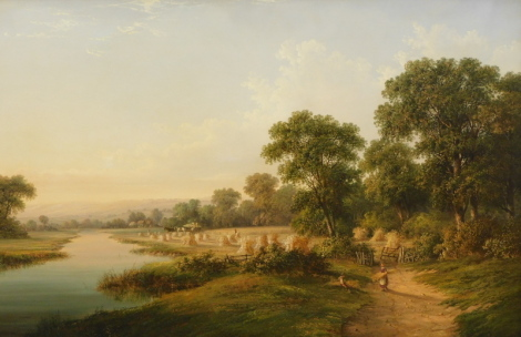 Attributed to Walter Heath Williams (act.1841-c.1876). Landscape, with figures in the foreground carrying wheat sheaves and beyond the path and gate, a field with hay cart and other figures with corn stoops adjacent to a river, oil on canvas, 67cm x 102cm