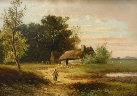 Abraham Hulk Jnr (1851-1922). Landscape with thatched barn and cottage, geese or chickens nearby and figures approaching the foreground, oil on panel, signed, 17cm x 25cm.