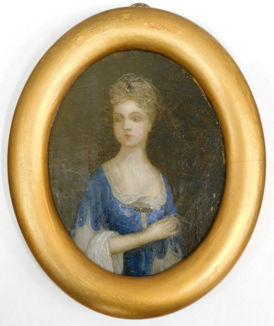 Early 19thC English School. Half length portrait of a young lady with pearl mounted veil, blue and lace dress, oil on canvas, 15cm x 12cm.
