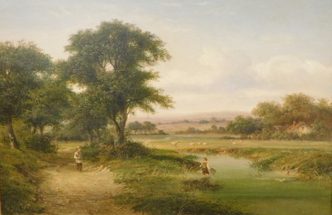 Attributed to Walter Heath Williams (act.1841-c.1876). Landscapes with figures in the foreground and sheep in the distance, oil on canvas, - pair, 46cm x 66cm, gilt framed.