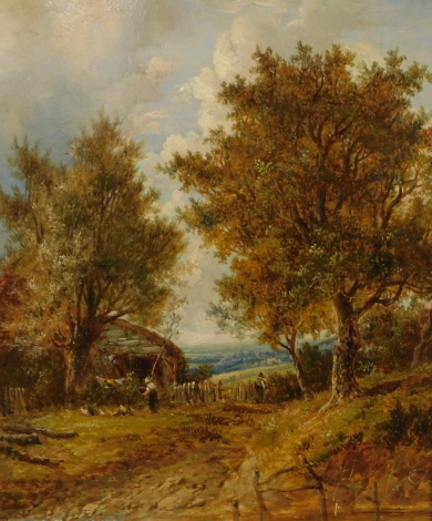 Joseph Thors (1835-1920). Farmstead scene with figures and chickens, oil on board, signed, 29cm x 24cm, labelled verso as a Windsor & Newton prepared millboard.