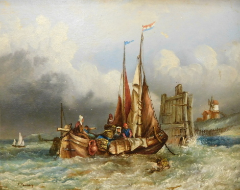 R Pembery (20thC). Figures on a sailing boat near to shore with fishing baskets and windmill in the distance, oil on board, 19cm x 24cm.
