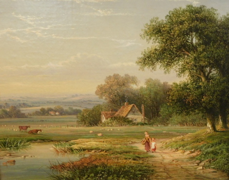 Attributed to Walter Heath Williams (act.1841-c.1876). Landscape with two young children in the foreground on a path by a pond, with cattle and sheep within the grounds of a cottage, oil on canvas, 26cm x 31cm, ex-lot No. verso possibly Goldings.