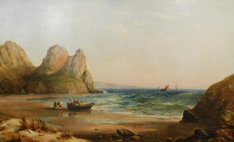 Alfred Clint (1807-1883). Cove scenes with many figures and sailing boats, oil on canvas - pair, signed and one dated 1864, 39cm x 60cm.