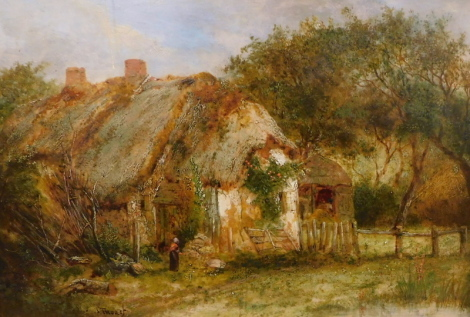 Joseph Thors (1835-1920). A farmstead, thatched cottage with figure in the foreground, signed and titled to the pierced gilt frame, oil on board, 26cm x 38cm.