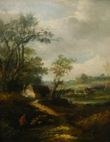 19thC English School. Shepherd with sheep returning to his cottage within landscape, oil on canvas, 46cm x 37cm.