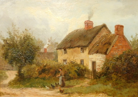 Enoch Crosland (1860-1945). A view near Duffield and cottage at Mackworth, Derbyshire, oil on board - pair, 17cm x 24cm.