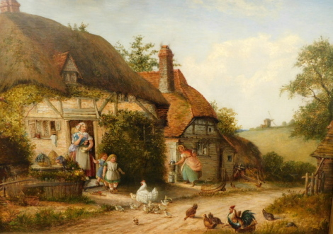 Francis H. Williams (fl. 1870-1891). Witley nr. Guildford, chickens, children and figures by thatched cottages, oil on canvas, 33cm x 45cm.