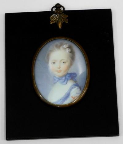 A colour print portrait minature, 14cm x 12cm inc. frame.
