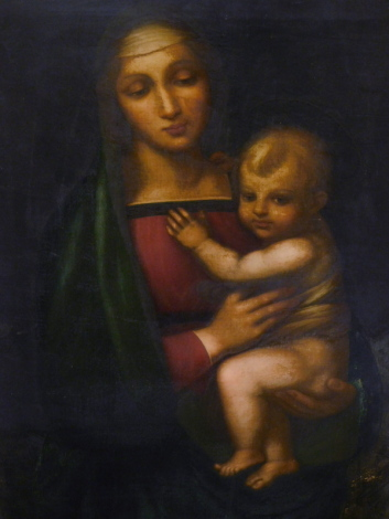 Italian School. Virgin and child, oil on canvas, indistinctly titled verso, 86cm x 58cm.