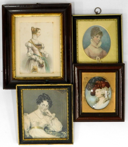 After Simpson. Lady De Tabley, engraving; two further miniature prints and and a miniature crystoleum print. (4)