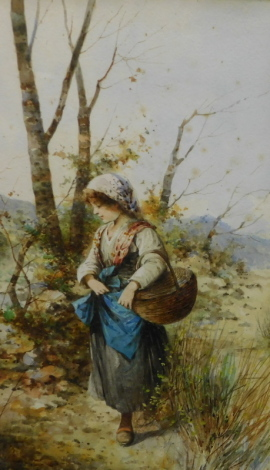 P. Lary (19thC English School). Off to market, watercolour, attributed, 41cm x 26cm.