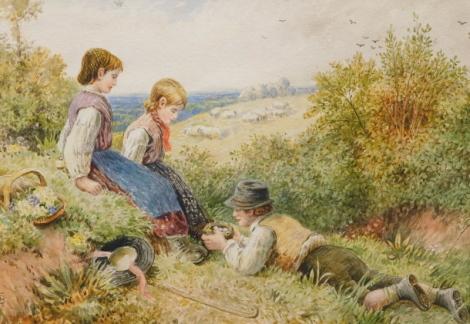 Myles Birkett Foster (1825-1899). Figures in a landscape examining bird's eggs, watercolour, monogrammed, 17cm x 26cm.