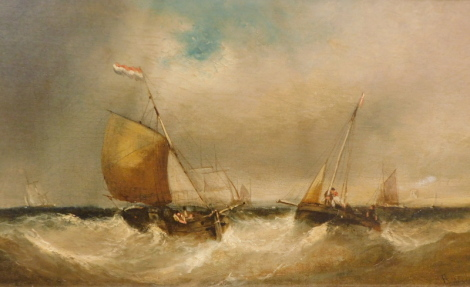 E.J. Walters (19thC School). Dutch fishing boats in a breeze, oil on canvas, signed, attributed to the mount, circa. 1850, 24cm x 44cm.