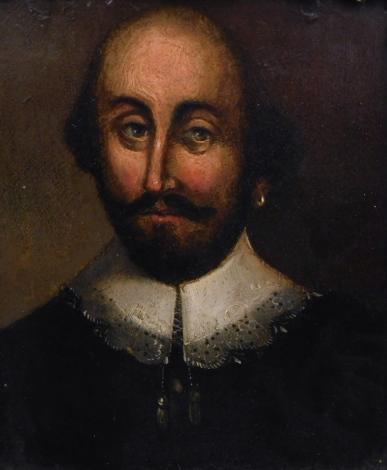 17thC style Continental School. Figure of a gentleman wearing ruff, quarter profile, oil on panel, 19cm x 16cm.