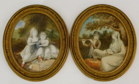 18thC English School. Figures of shepherd and shepherdess, with sheep and children in woodland setting, watercolour, oval, 26cm x 21cm - pair. Burghley Fine Art Conservation Ltd invoice (2).