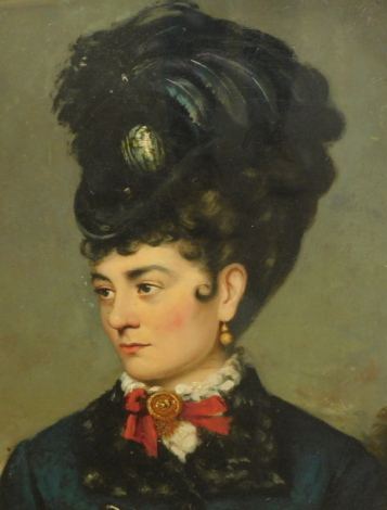 19thC English School. Figure of a lady facing sinister, wearing elaborate feather hat and neck jewel, shoulder portrait, oil on canvas, 60cm x 45cm.