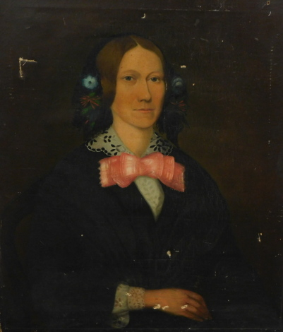 19thC English School. Portrait of a lady wearing bonnet and bow, quarter profile, oil on canvas, unsigned, 78cm x 64cm.
