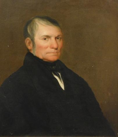 19thC English School. Portrait of a gentleman, quarter profile, facing dexter, oil on canvas, unsigned, 78cm x 63cm.