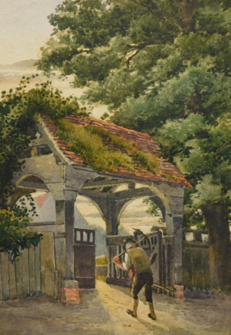 19thC English School. Figure holding pickaxe entering a church on a summers evening, watercolour, unsigned, 26cm x 17cm. R.A. Allen Esq. Victorian stamp letter verso.