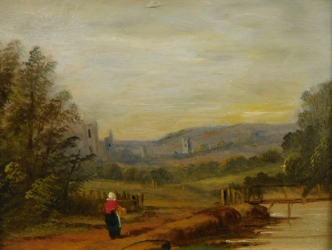 19thC English School. Figure on a path before trees and ruin, oil on board, unsigned, attributed verso School of Bonnington, 16cm x 22cm.