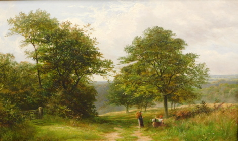Henry Hadfield Cubley (Active 1882-1904). By The Woodside, oil on canvas, signed, probably dated 1897, 40cm x 67cm.