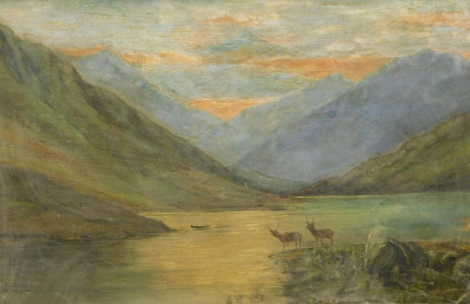 19thC Scottish School. Loch scene, stags before mountain on a twilight evening, oil on canvas, unsigned, 38cm x 54cm.
