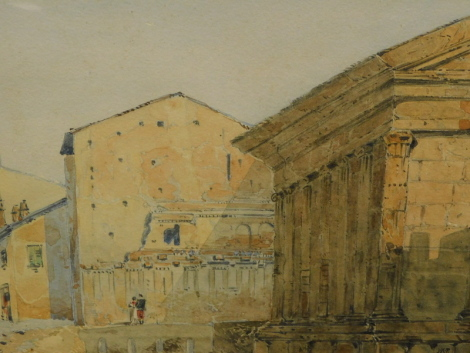 J H R (19thC School). Figures and classical buildings, monogrammed, dated 1863.