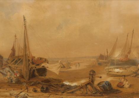 Samuel Lover (1797-1868). Beach scene, figures before boats on the dunes, watercolour, signed 1841, 29cm x 42cm.