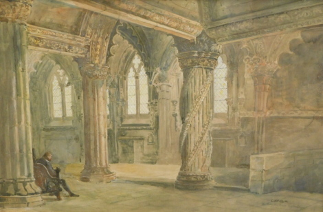 C. Williamson (20thC English School). The apprentice pillar Rosslyn (sic) chapel, watercolour, signed and titled, 39cm x 59cm.