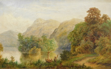 S.H. Turpin (fl.1882). Figure on a path before mountains and trees on a summers day before water and mountains, oil on canvas, signed and dated 1882, 40cm x 65cm - pair.
