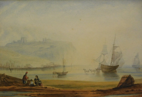 19thC English School. Figures before ships, drying sails, possibly Scarborough, watercolour, unsigned, 26cm x 35cm.