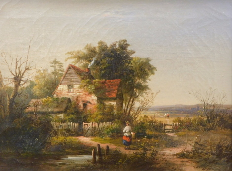 19thC English School. Figure on a path holding a basket before cottage and trees, on a summers day, oil on canvas, indistinctly signed, 31cm x 38cm.