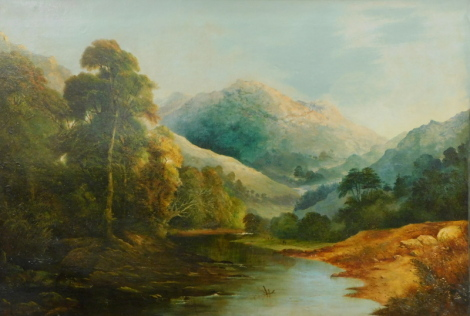 19thC School. Mountain landscape, oil on canvas, indistinctly signed and dated 1864, 85cm x 127cm.